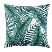 Almofada de algodão cor linho com folhagem verde 45x45 Baka