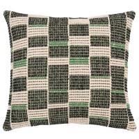 MARCIA - Almofada de algodão em verde, preto e cru 45x45