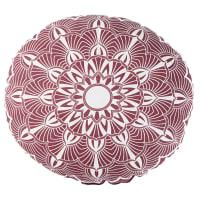 Almofada de exterior redonda com estampado de algodão cor-de-rosa e cor linho diâmetro 40 Kriya
