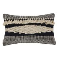 MIEZA - Almofada em algodão bordado preto e cru com pompons 30x50