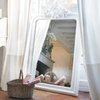 carved paulownia wood trumeau mirror in white H 120cm Altesse