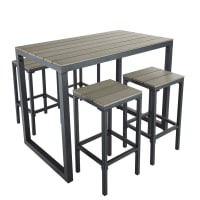 Aluminium Garden Bar Table with 4 Stools L128 Escale