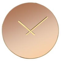 LENNIE - Amber Tinted Mirror Glass and Metal Clock D45