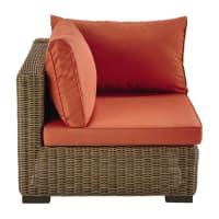 Angolo di divano in resina intrecciata e cuscini terracotta Fidji