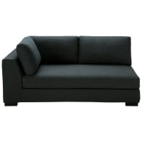 Anthracite Cotton Modular Sofa Bed with Left Armrest Terence