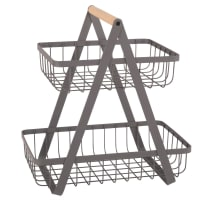 Anthracite Grey Metal and Beech Double Basket