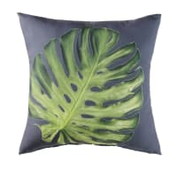 Anthracite Grey Outdoor Cushion with Green Leaf Print 45x45 Pitao