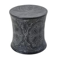 Anthracite Grey Sculpted Metal Side Table Macha