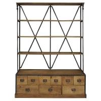 Antique black metal and mango wood 9-drawer shelf Wilfried