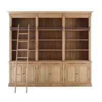 Antique Oak 6-Door Bookcase with Ladder Colbert
