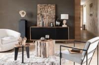LENOX - Aparador 3 portas de madeira de mangueira maciça e metal