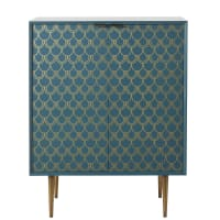 BARRACUDA - Aparador con 2 puertas azul turquesa con motivos gráficos dorados