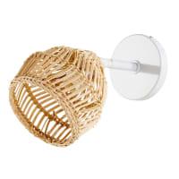 Applique en fibre naturelle et métal blanc Wild