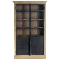 VOLTAIRE - Armário com 2 portas de vidro de madeira de pinho reciclada