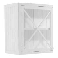 Armário superior de cozinha de vidro branco de madeira, abertura à direita largura 60 Newport