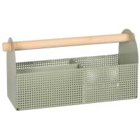 Arrumação para secretária com caixa de ferramentas em metal azul e hévea