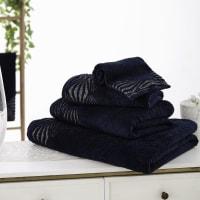 Asciugamano ospiti in cotone blu notte motivi argentati, 30x50 cm Santa Barbara