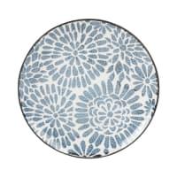 Assiette à dessert en faïence blanc motifs graphiques bleus Ischia
