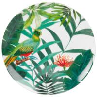 Assiette à dessert en porcelaine imprimé tropical Tropical Bird
