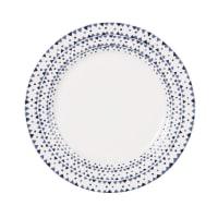 Assiette à dessert en porcelaine motifs graphiques bleus Dory