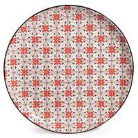 Assiette plate en faïence à fleurs rouges Seville