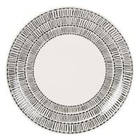 Assiette plate en faïence blanche et noire à motifs Eva