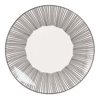 Assiette plate en faïence blanche motifs à rayures Mekong
