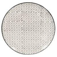 Assiette plate en faïence blanche motifs graphiques noirs Chiang Mai