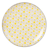 Assiette plate en faïence motif soleil Adele