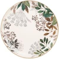 CASSANDRE - Lot de 6 - Assiette plate en faïence motif végétal blanc, vert et rouge
