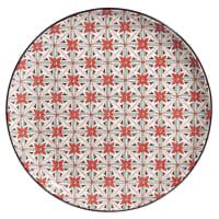 Assiette plate en faïence motifs graphiques rouges Seville
