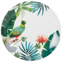 Assiette plate en porcelaine imprimé tropical Tropical Bird