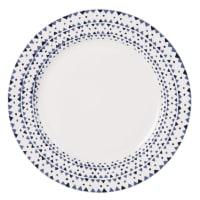 Assiette plate en porcelaine motifs graphiques bleus Dory