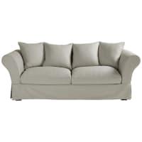 Ausziehbares 3-/4-Sitzer-Sofa aus Baumwolle, hellgrau Roma