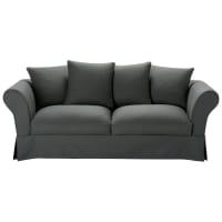 Ausziehbares 3-/4-Sitzer-Sofa aus Baumwolle, schiefergrau Roma
