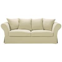 Ausziehbares 3-/4-Sitzer-Sofa aus grobem Leinen, beige Roma