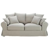 Ausziehbares 3-Sitzer-Sofa aus Baumwolle, hellgrau Bastide