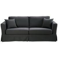 Ausziehbares 3-Sitzer-Sofa aus Baumwolle, schiefergrau Royan Royan
