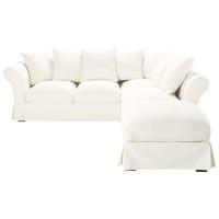 Ausziehbares Ecksofa 6-Sitzer aus Baumwolle, elfenbeinfarben Roma