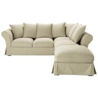 Ausziehbares Ecksofa 6-Sitzer aus Baumwolle, graubeige Roma