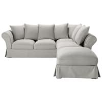 Ausziehbares Ecksofa 6-Sitzer aus Baumwolle, hellgrau Roma