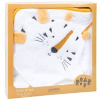 SAMBA - Baby's White Cotton Bathrobe with Mustard Yellow and Black Tiger's Head