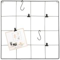 Lotto di 2 - Bacheca in metallo quadrettato nero, 40x40 cm