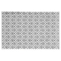 Badvorleger aus weißer Baumwolle mit grauen Motiven 80x50 Graphic Wild