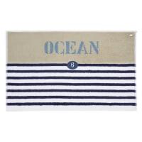 Badvorleger  aus Baumwolle, 50 x 80 cm, blau gestreift Océan