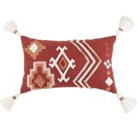 AZRA - Baksteenrode, oudroze en ecru getufte kussenhoes met borduurwerk en grafische motieven 30 x 50 cm