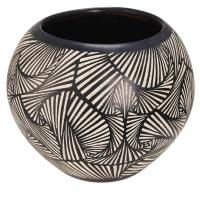 terracotta garden pot with black and white motifs H 38 cm Bamako