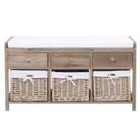 ELOISE - Banco de almacenaje de madera y algodón An. 103 cm