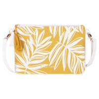 Bandolera de algodón amarillo mostaza con estampado de palmeras blancas