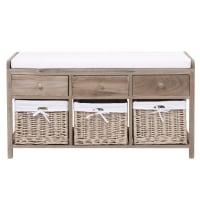 Bank aus Holz und Baumwolle mit Schubladen und Staufächern, B103 Eloise